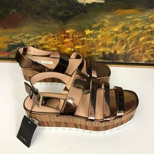 Zara Metallic Rose Gold Platform Wedge Sandals NWT